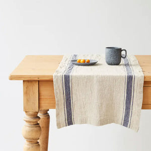 Linen Vintage Stripe Table Runner