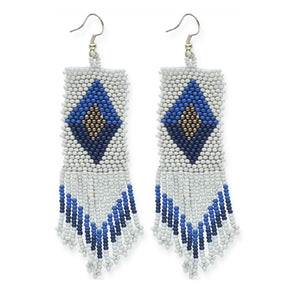 Ivory and Blue Beaded Fringe Earrings