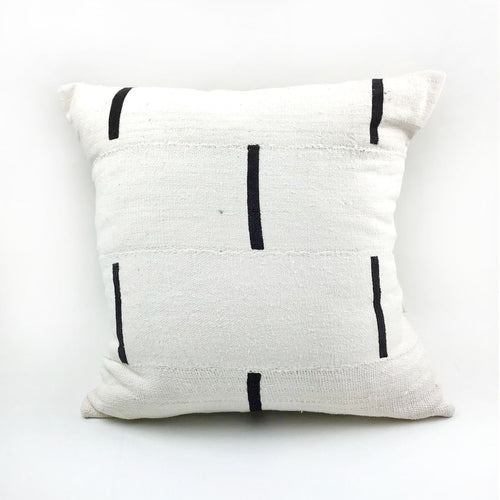 White with Black Dash Vintage Mudcloth Pillow with Insert