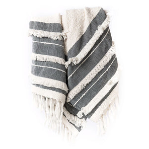 Handloomed Fringe Throw - White