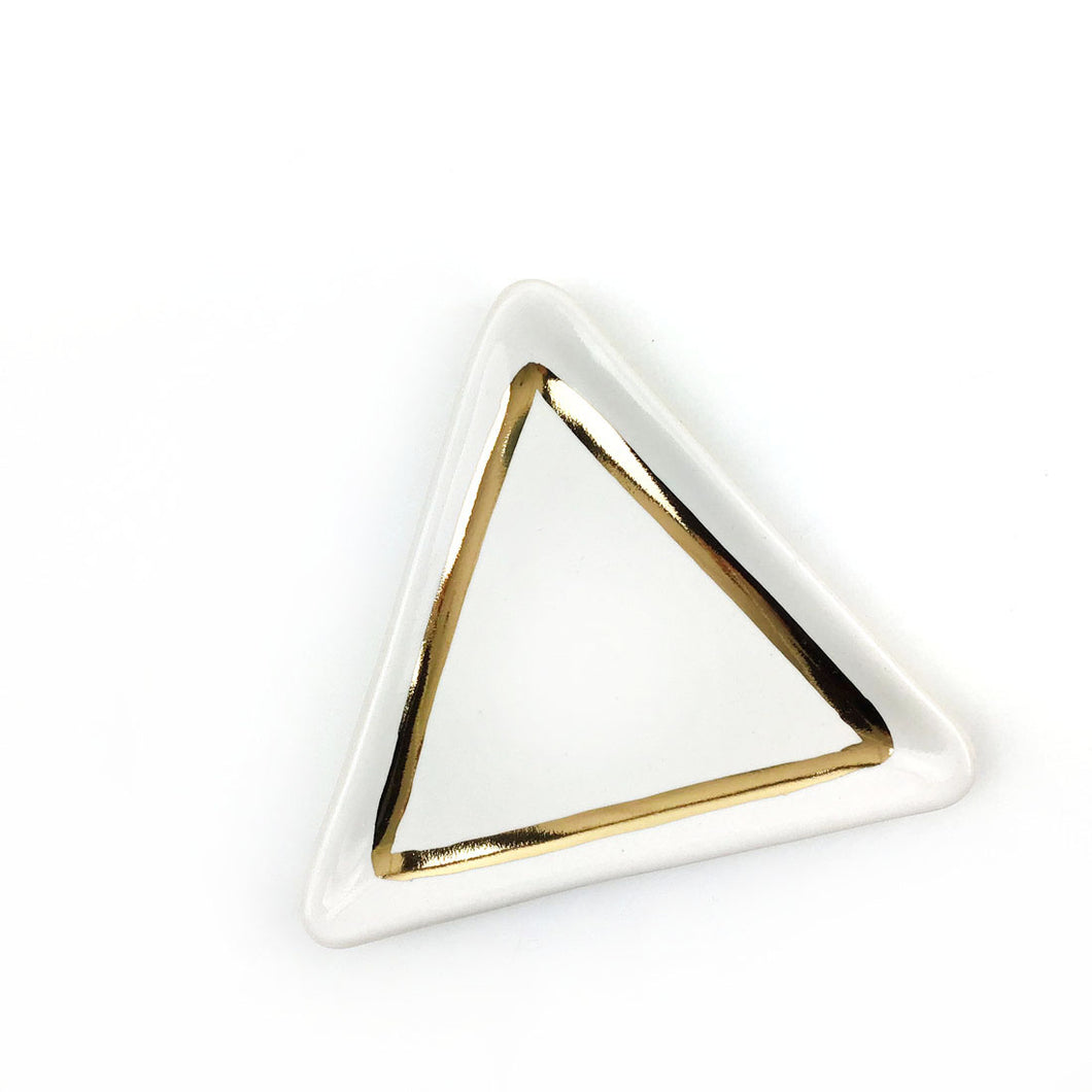 White and Gold Triangle Dish