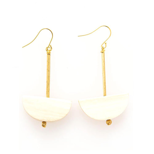 Brass and Wood Half Moon Earrings