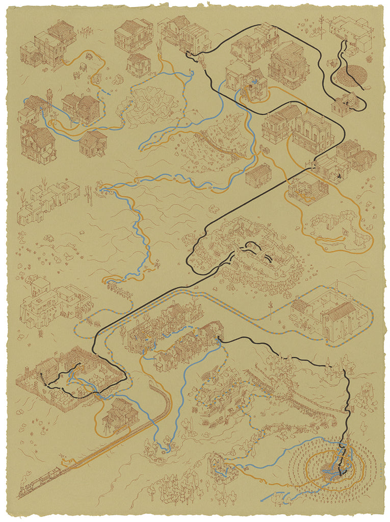 "Andrew DeGraff ""Paths of Blondie, Angel Eyes, and Tuco"" Print"