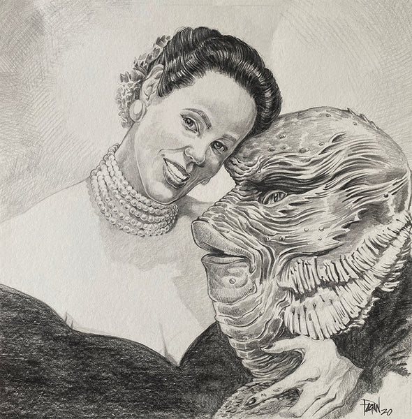 "Augie Pagan ""Millicent Patrick with Gill Man."""