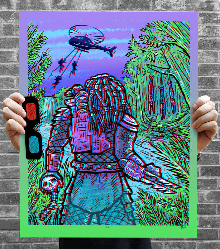 "Brad Albright ""Predator: There's Something In Those Trees - 3D Poster + Glasses"" Print"