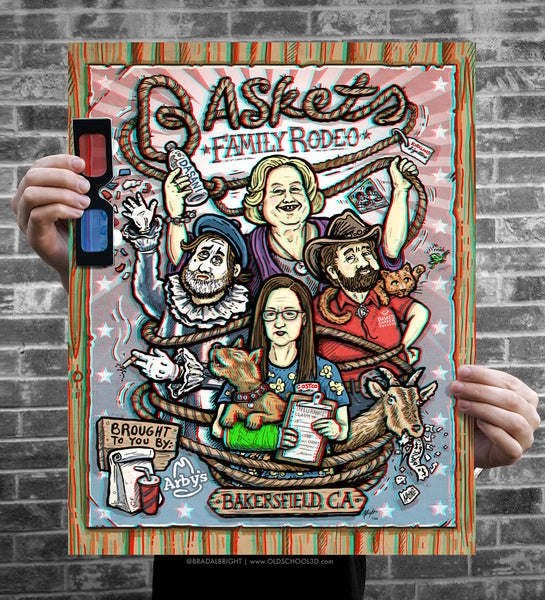 "Brad Albright ""Baskets Family Rodeo - 3D Poster + Glasses"" Print"