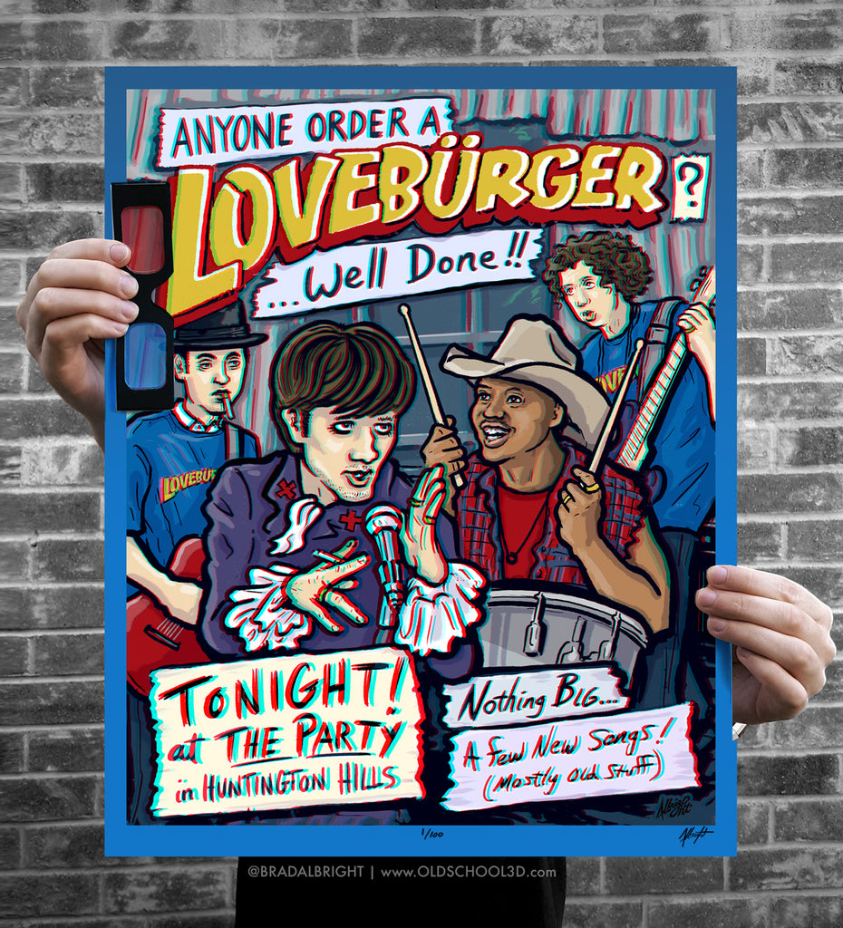 "Brad Albright ""LOVEBÜRGER - Can't Hardly Wait Band"" 3D Poster + Glasses"