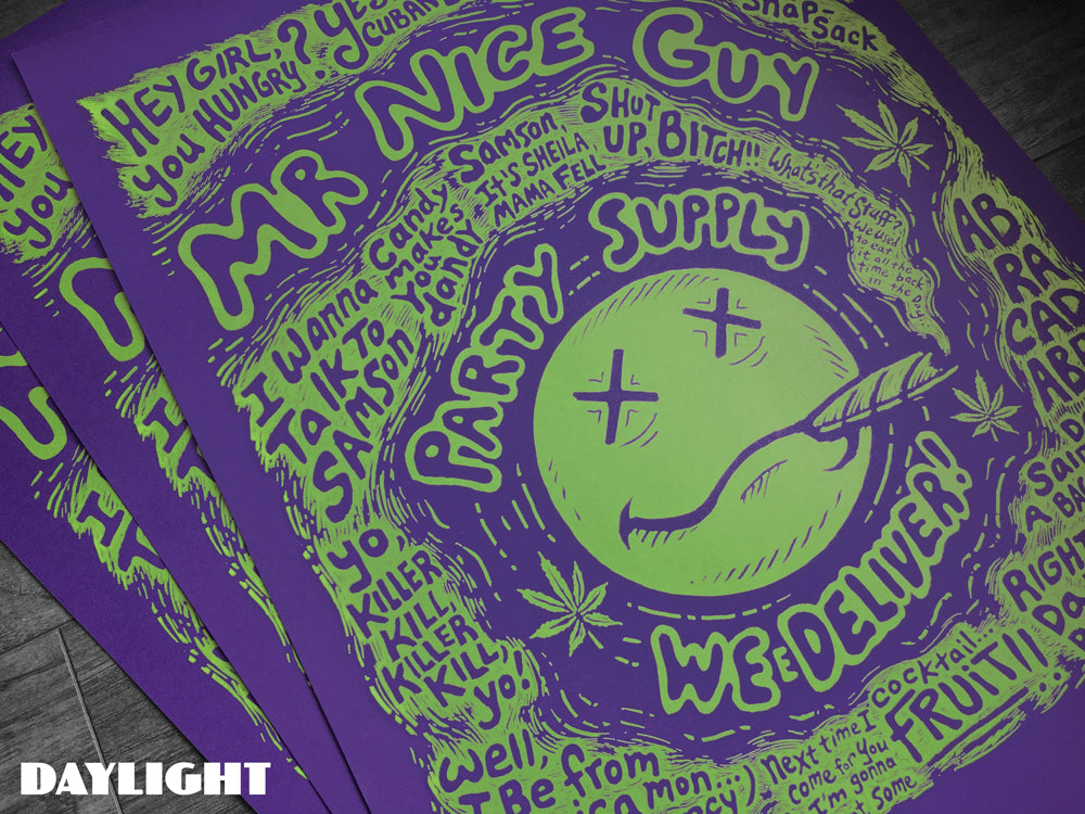 "Brad Albright ""Mr Nice Guy Party Supply - Blacklight Poster"" Print"