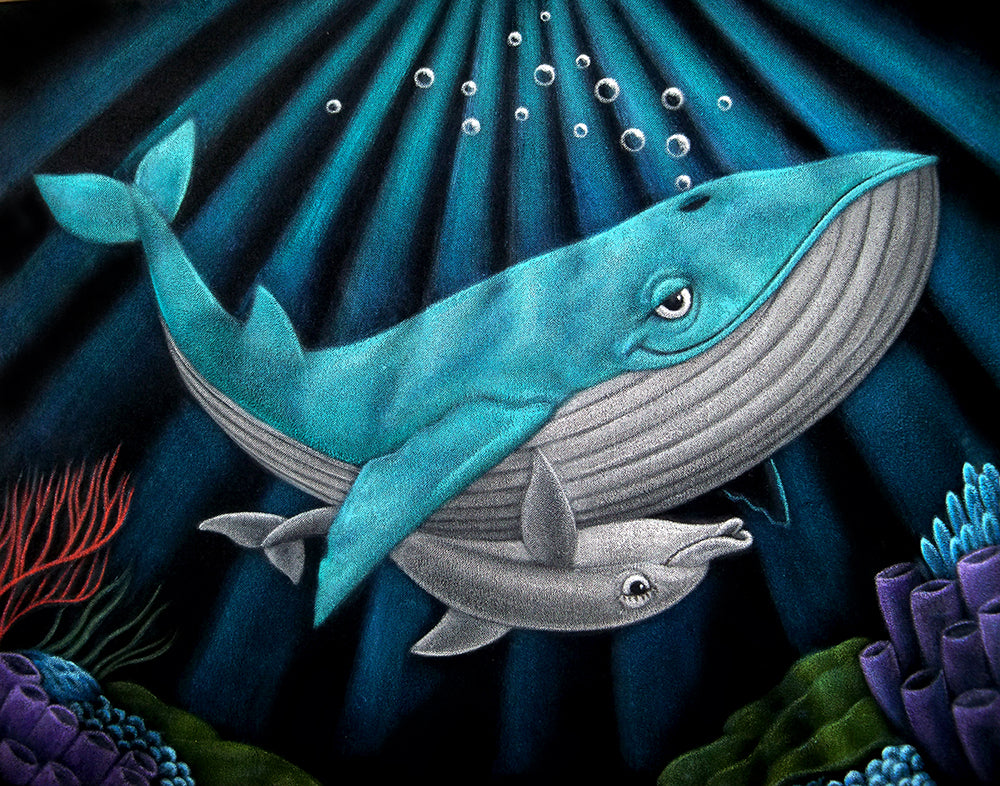 "Bruce White ""A Whale and a Dolphin Gettinh It On"" Print"