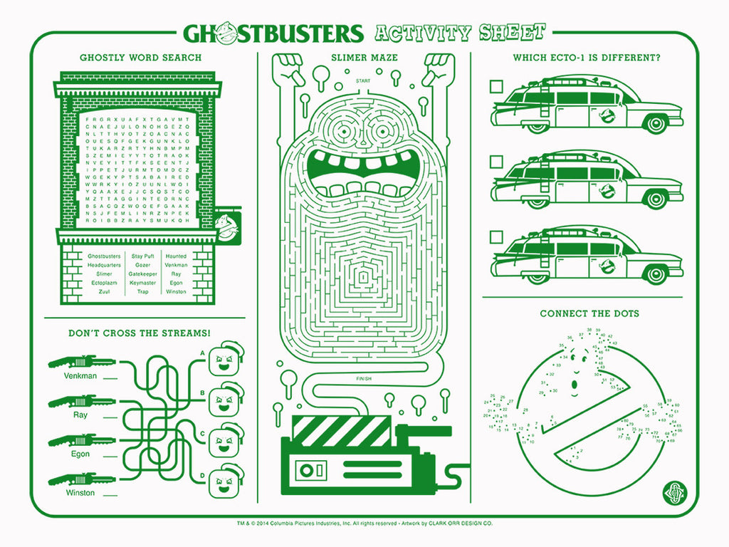 "Clark Orr ""Ghostbusters Activity Sheet"" Print"