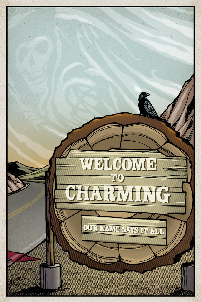 "Clinton Reno ""Welcome to Charming"" Postcard Print"