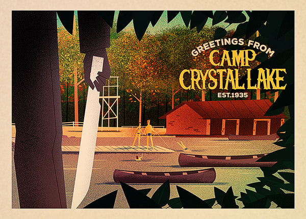 "Mark Borgions ""Greetings from Camp Crystal Lake"" Postcard Print"