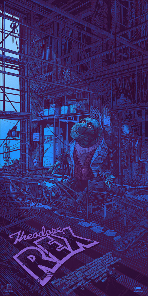 "Daniel Danger ""the Theodore Rex costume rotting away in a prop warehouse; forgotten, cold, and alone, staring into the heavens."" Print"