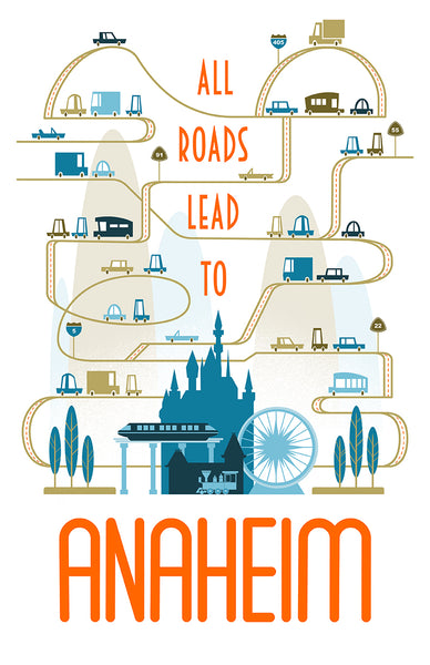 "Dave Pryor ""All Roads Lead to Anaheim"" Print"