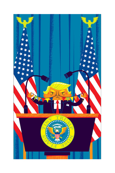 "Doug LaRocca ""Tiny Trump Nose Flags"" Print"