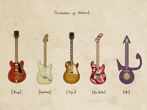 "Joe Van Wetering ""Evolution of Guitars"" Print"