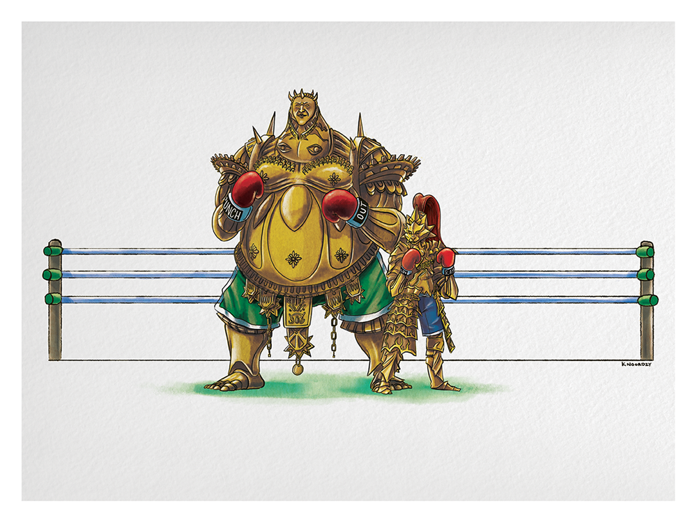 "Keith Noordzy ""Dark Souls Invades…Punch Out (Smough & Ornstein)"" Print"