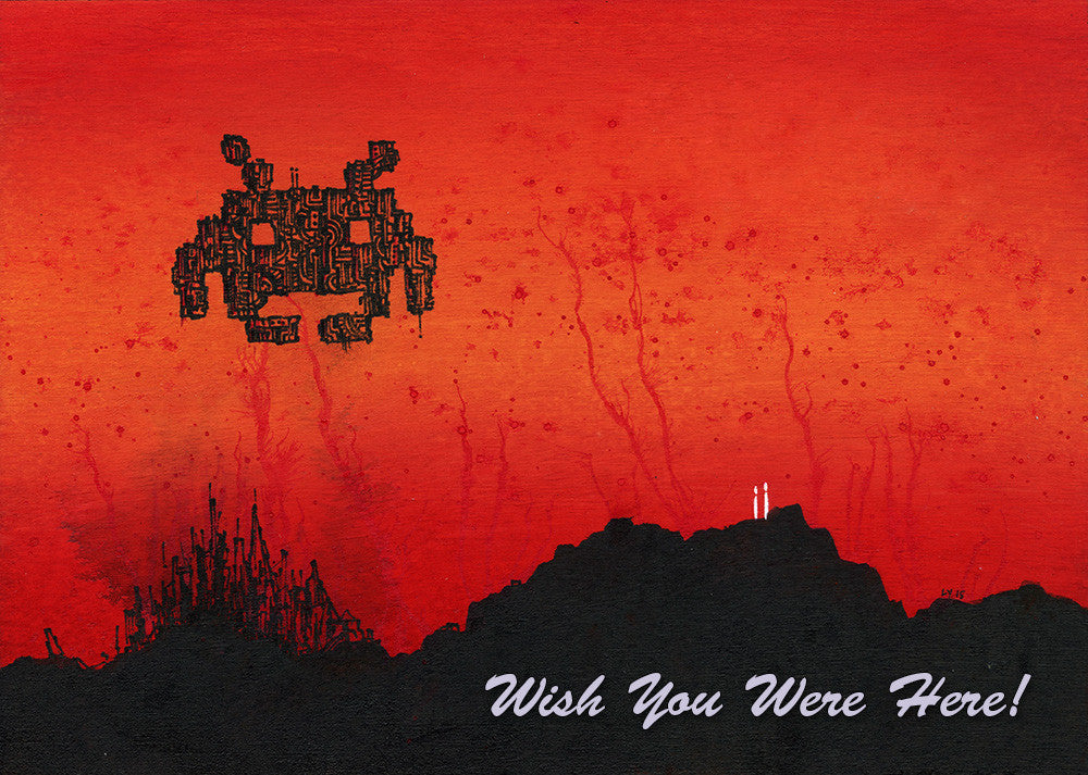 "Lawrence Yang ""Wish You Were Here - Invaders"" Postcard Print"