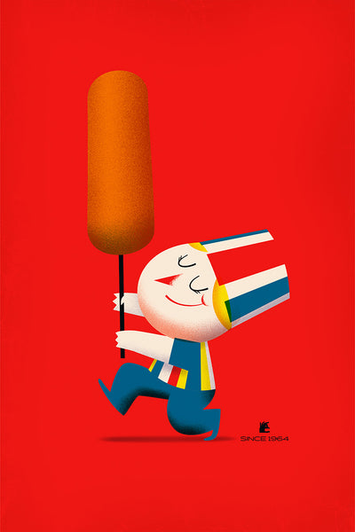 "Mark Borgions ""Hot Dog on a Stick"" Print"