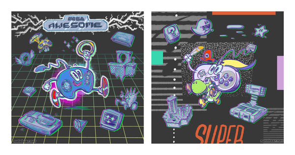 "Nate Bear ""Mega Awesome Control Pad vs Super Rad Controller"" Print Set"