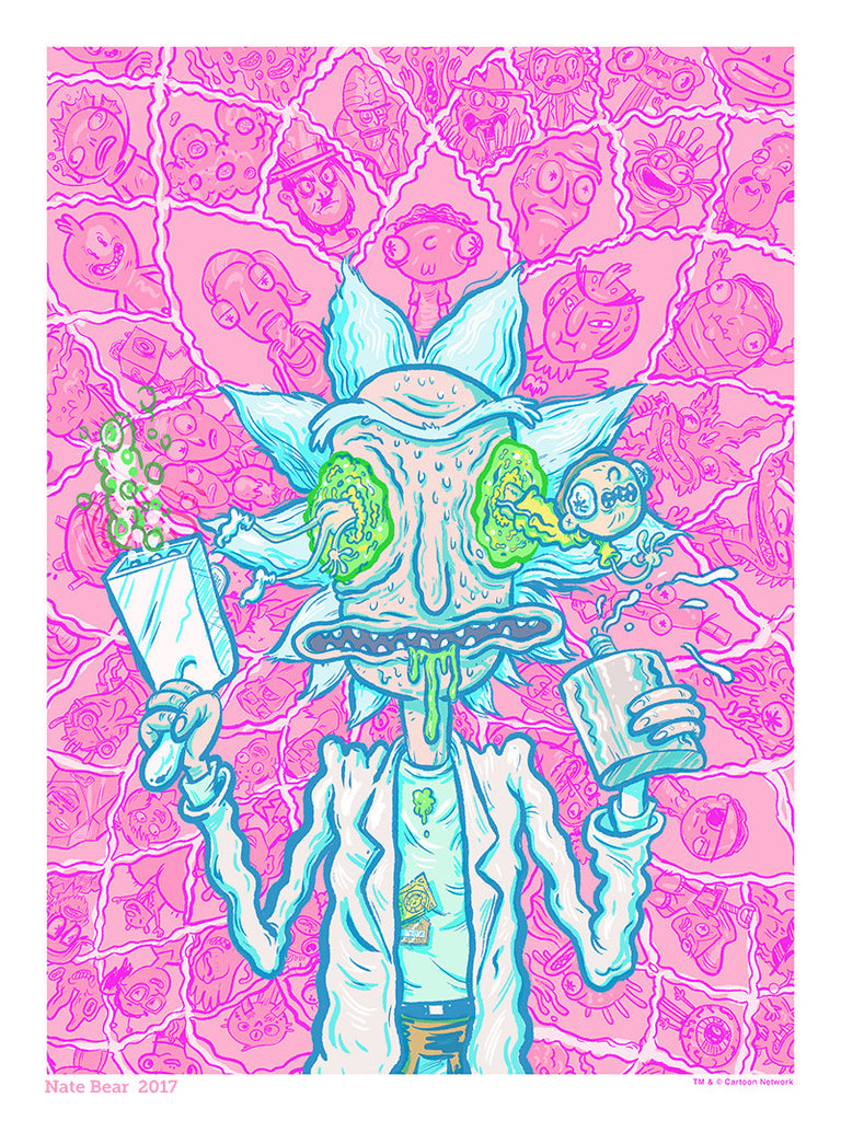 "Nate Bear ""Get Down with The Rickness (Kalaxian Crystal variant)"" Print"