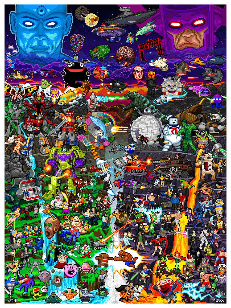"Roger Barr and Louis Fernet-Leclair ""8-bit Worlds Collide"" Print"