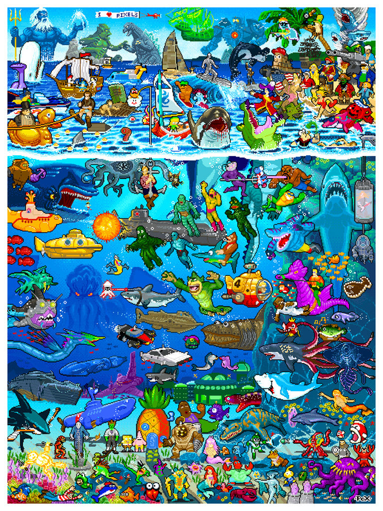 "Roger Barr and Louis Fernet-Leclair ""8-bit Pixels Under The Sea"" Print"