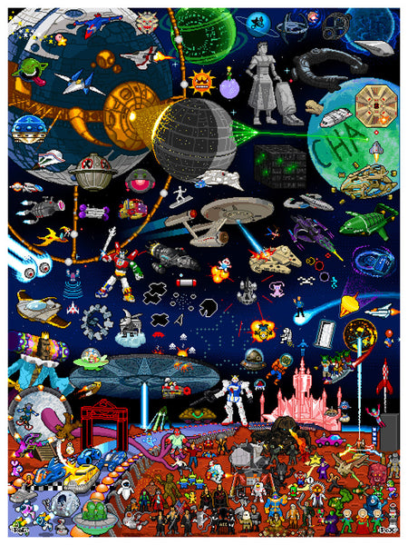 "Roger Barr and Louis Fernet-Leclair ""8-Bit Pixels in Space"" Print"