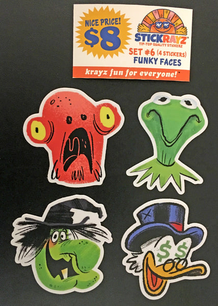 "Luke Flowers ""Funky Faces"" Sticker Set"