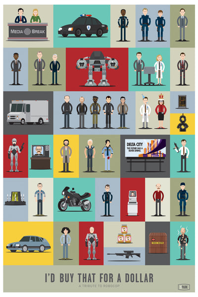 "Scott Park ""I'd buy that for a dollar. A Tribute to Robocop"" Print"