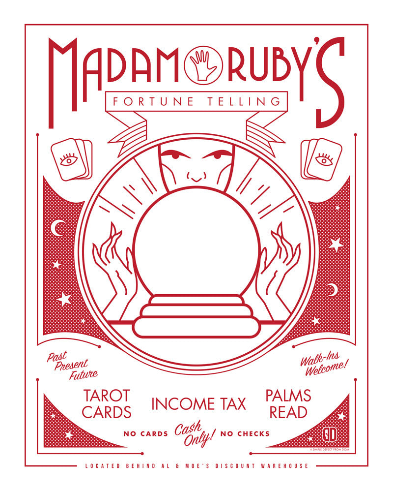 "Sean Naylor / DCAY design ""Madam Ruby's Fortune Telling"" Print"
