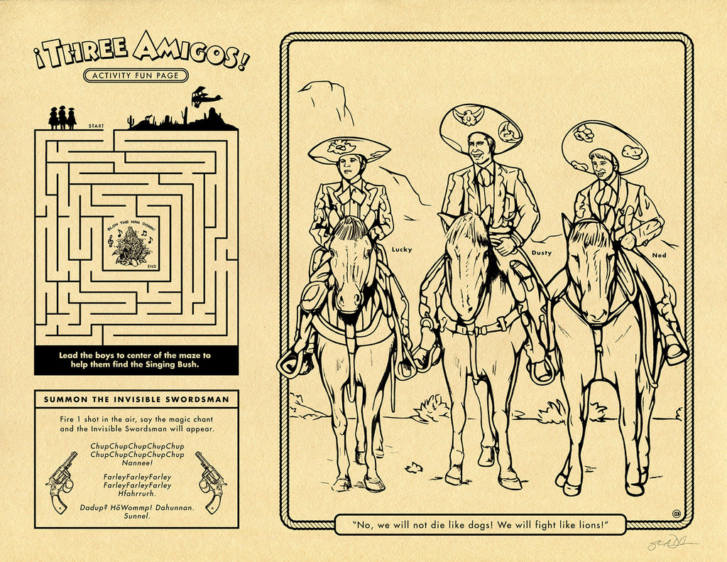 "Steve Dressler ""Three Amigos Activity Fun Page"" Print"