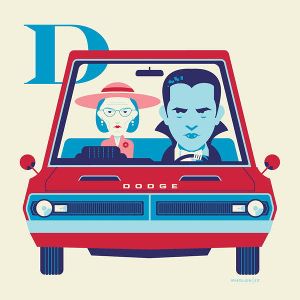 "Tom Whalen ""D is for Driving a Dodge Dart"" Print"