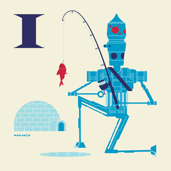 "Tom Whalen ""I is for Ice Fishing"" Print"
