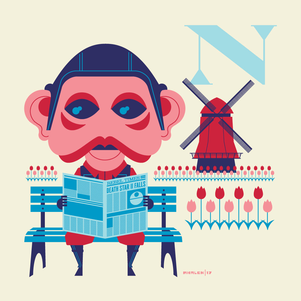 "Tom Whalen ""N is for Newspaper in the Netherlands"" Print"