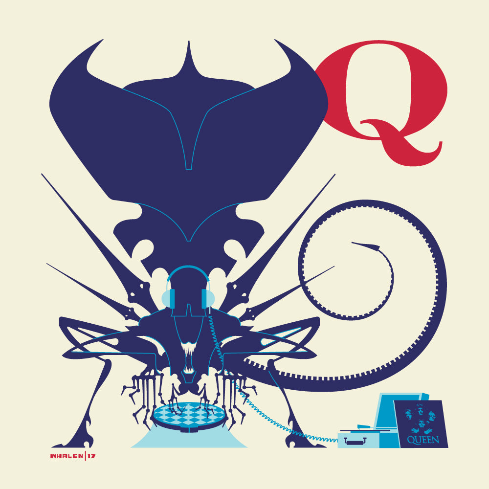 "Tom Whalen ""Q is for Queen"" Print"