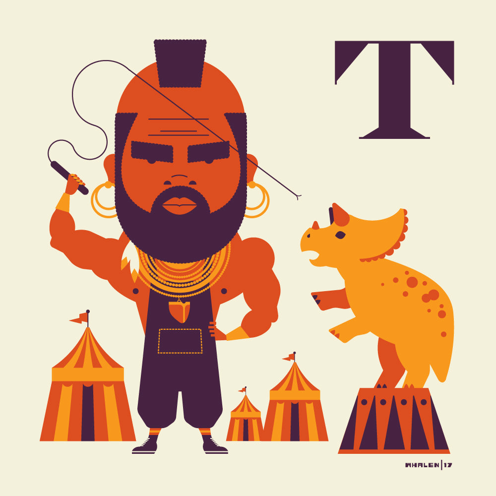"Tom Whalen ""T is for Taming Triceratops"" Print"