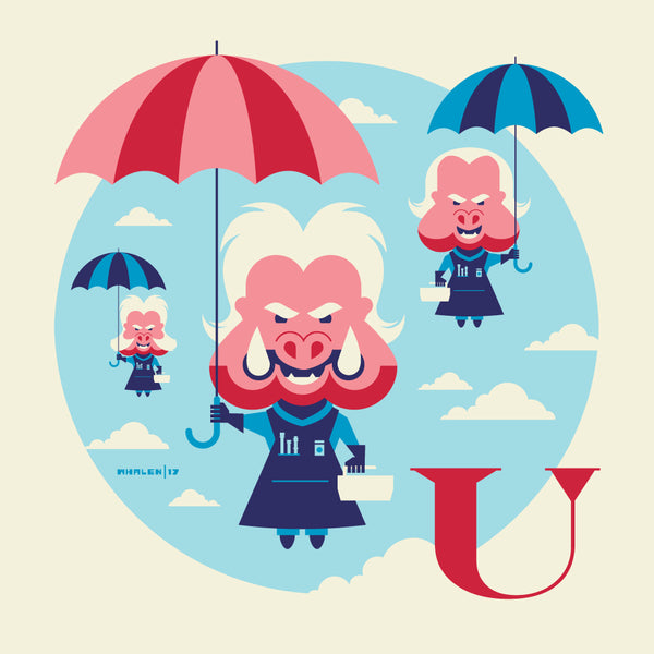 "Tom Whalen ""U is for Umbrellas"" Framed Print"