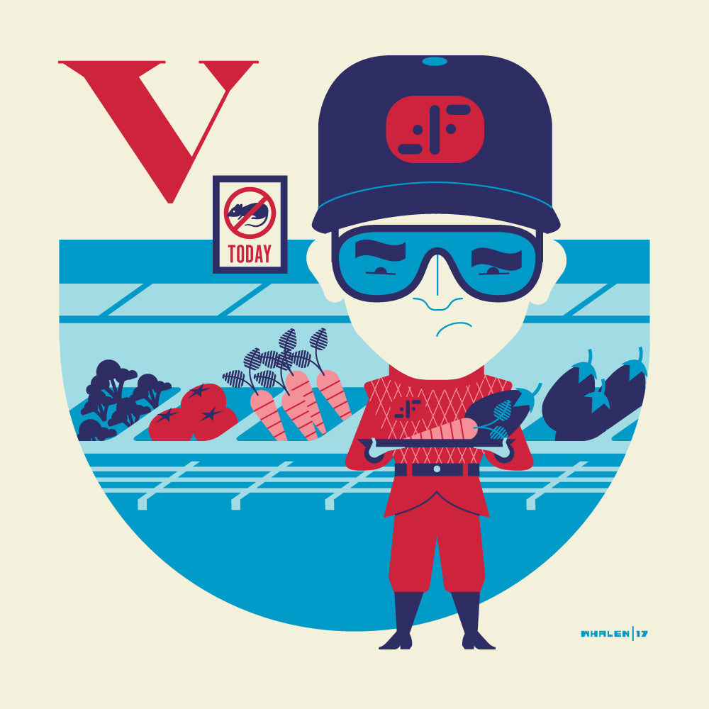 "Tom Whalen ""V is for Vegetarian Visitor"" Print"