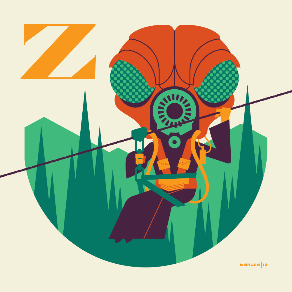 "Tom Whalen ""Z is for Ziplining"" Print"