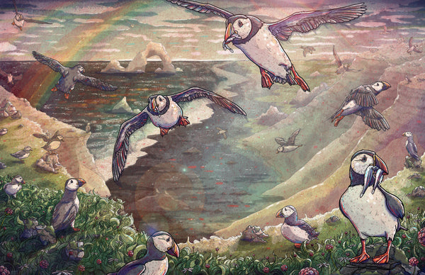 "Taylor Rose ""Cliffside Puffins"" Print"