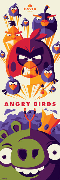 "Tom Whalen ""Angry Birds Attack!"" Framed Print"