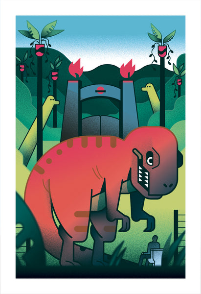 "Tony Bui ""T-Rex Eats Lawyer on Toilet"" Print"