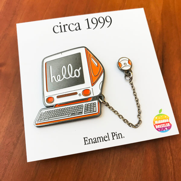 "Miranda Dressler ""iMac - circa 1994 (Orange)"" Pin"