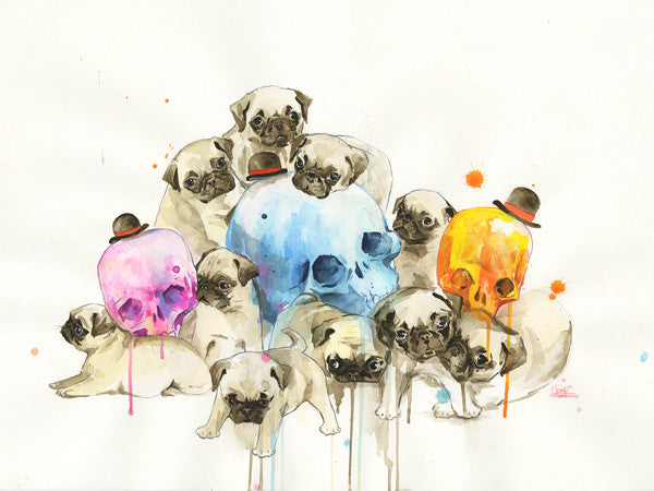 "Lora Zombie ""PUPPIES AND SKULLS"" Print"