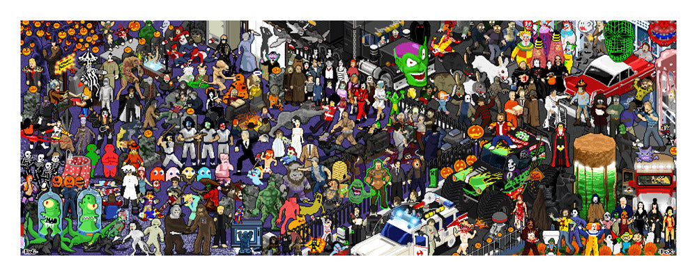 "Roger Barr and Louis Fernet-Leclair ""Halloween Pixel Party"" Print"