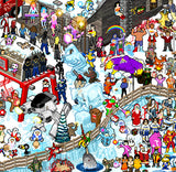 "Roger Barr and Louis Fernet-Leclair ""Winter Holiday Pixel Party"" Print"