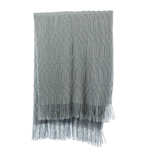 Blue Diamond Knit Throw