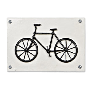 Simple Bicycle White Iron Sign