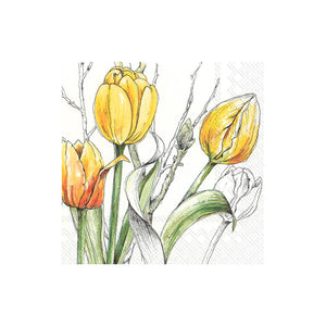 Yellow Tulip Sketched Napkins